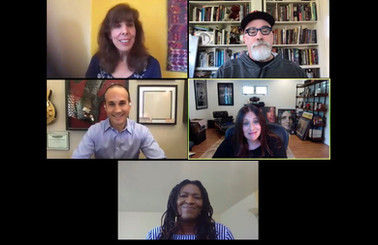 """A screenshot from the free webinar """"New Rules for Tv Development and Pitching: How to Successfully Pitch Your Project"""" in partnership with Film Tucson. July 2020  Pictured: Moderator Lorna Soroko, & Panelists Peter Murietta, Chris Davis, Jennifer Breslow and Sheila Walcott."""