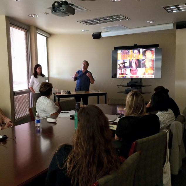 Our Docscapes guests: Documentary filmmakers/human rights activists Pamela Yates and Paco de Onis conducting a workshop at the University of Arizona. March 2016