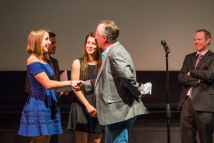 Joe Garrity (American Film Institute Senior Filmmaker in Residence: Production Design) presents one of two Hanson FilmTV Institute Awards for Best Production Design to Christina Close and Allison Klemes for RETRIBUTION. Also pictured Jacob Bricca. April 2017