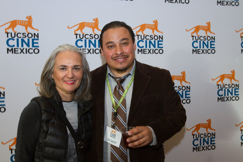 Photographer Alejandra Platt with festival committee member Fausto Olmos at the Opening Night of Tucson Cine Mexico. March 2018
