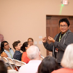 Filmmaker Dustinn Craig (Apache) gives a presentation about his work at the Flagstaff Red Screen Film Festival. July 2019