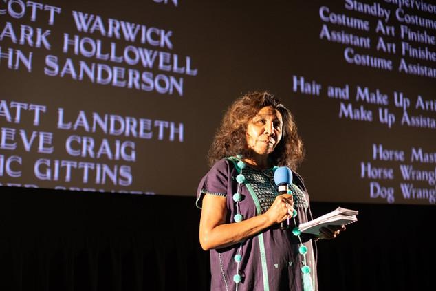 Guest speaker at Flagstaff Red Screen Film Festival Octaviana Trujillo (Pascua Yaqui). July 2019