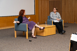 After the screening of BORDER RADIO, Hanson FilmTV Institute's Vicky Westover (right) conducts a Q&A with the film's director Allison Anders. September 19th, 2018