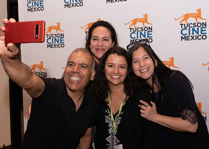Tucson Cine Mexico Committee Member Erica Franco (center) with friends at the 2019 festival.