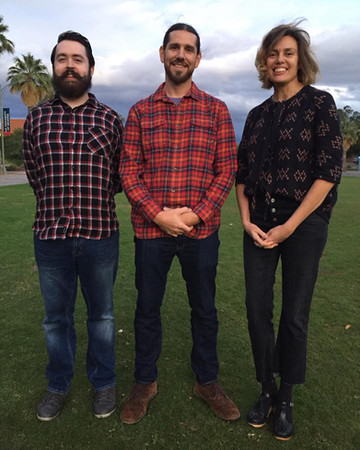Thanks to filmmaker Theo Rigby and documentary participant Marisol Camacho for joining us in Tucson for our DocScapes screening of WAKING DREAM - iNation Media. November 20th, 2019   Pictured: Hanson FilmTV Institute intern and UA School of Theatre, Film & Television student Kristian Jackson and former Hanson FilmTV Institute Assistant Director Kerryn Negus with Theo Rigby.