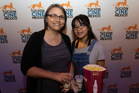 Former Institute intern, Film & Television student Rose Veneklasen and her daughter at Tucson Cine Mexico. 2019