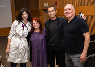 After the screening of her film BORDER RADIO, director Allison Anders (in purple) chats with UA School of Theatre, Film & Television faculty Lisanne Skyler and Kevin Black and Film Tucson's Peter Catalanotte. September 19th, 2018