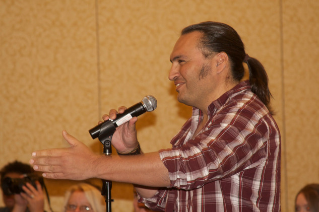 Tucson based actor Jon Proudstar asks a question during the Hanson FilmTV Institute's panel Breaking and Entering. November, 13th 2010