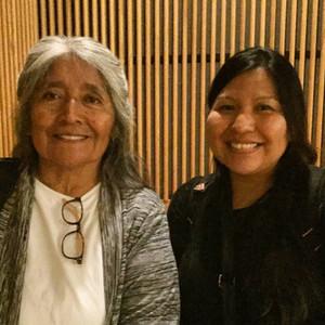 UA Departent of Linguistics Professor Ofelia Zepeda (Tohono O'odham) with BFA student, filmmaker, & Hanson FilmTV Institute intern Stacy Howard. 2017