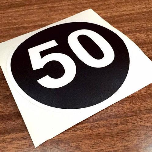 50MPH Sticker