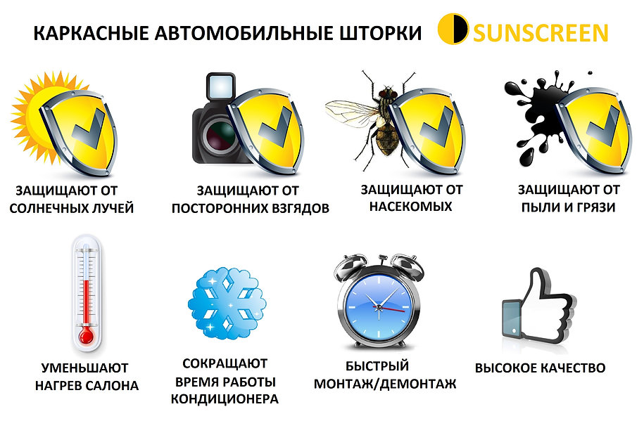 каркасные автошторки sunscreen санскрин на магнитах
