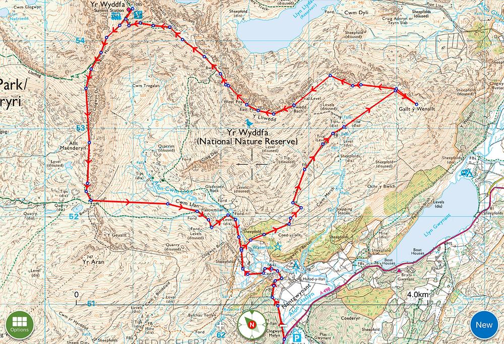 Alternative Snowdon Horseshoe Map