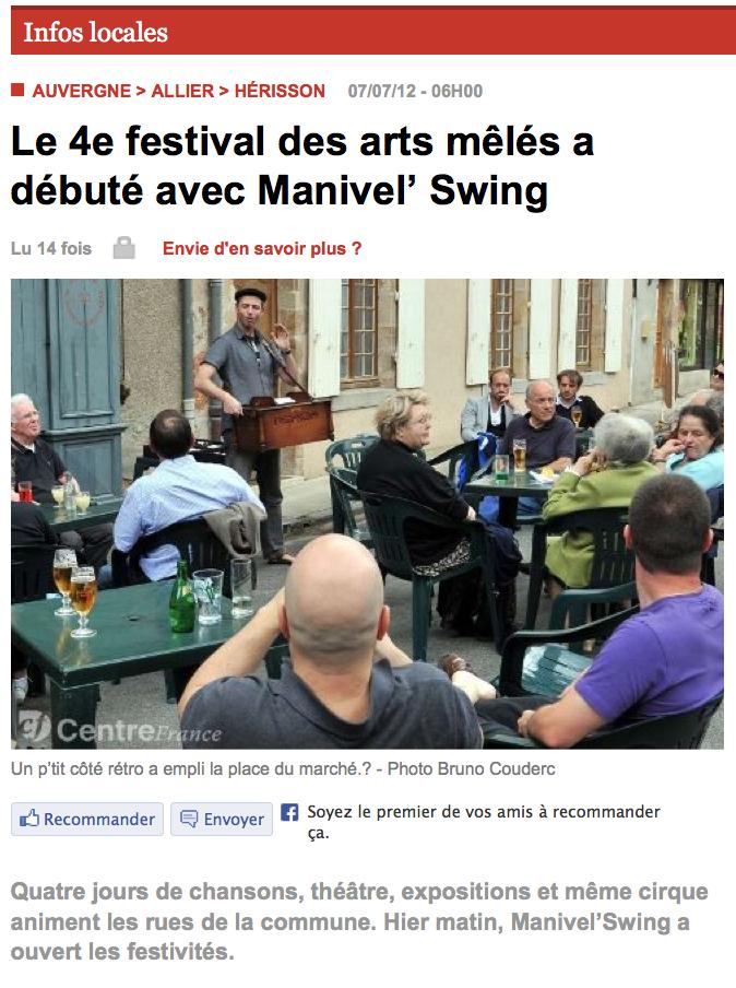 article Arts Mêlés à Hérisson 07_07_12