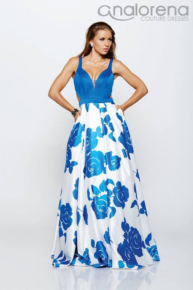 Vestido azul rey largo de fiesta