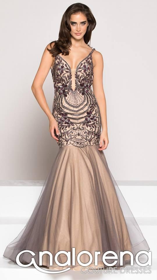 Vestido Sirena Pedrería Lila Colors Couture