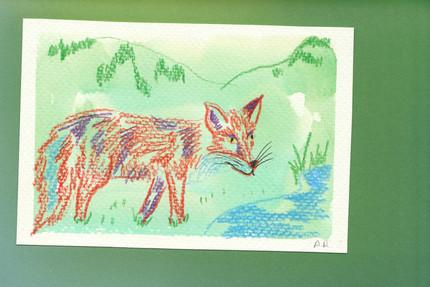 aquarelle et crayon de couleur sur papier  format A6 dessin unique