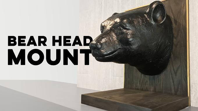 Bear Head Mount of Oak and Brass