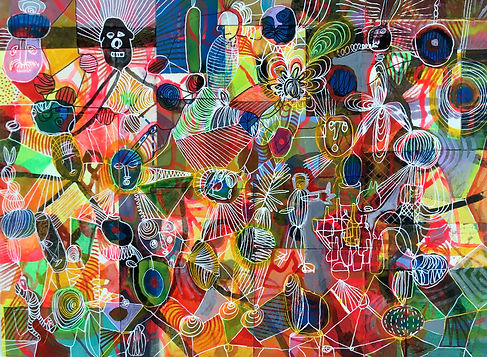 Soggy psychedelia Mixed media  27x26.JPG