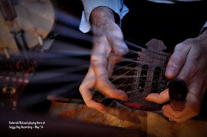 Close up of hands playing a Kora