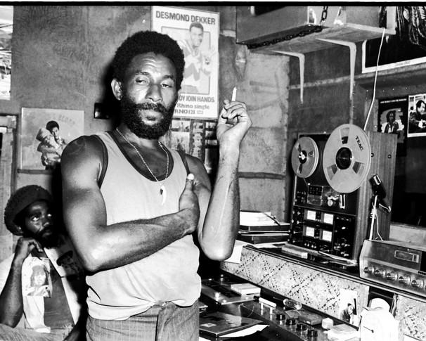 "Lee ""Scratch"" Perry in studio in Jamaica"