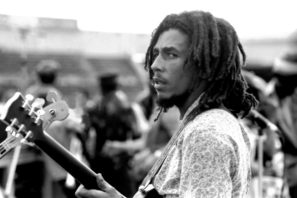 Bob Marley during a soundcheck in Jamaica 1974
