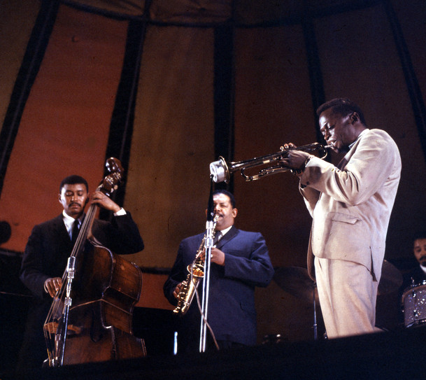 Miles Davis Quintet performing at the Randall's Island Jazz Festival c 1959