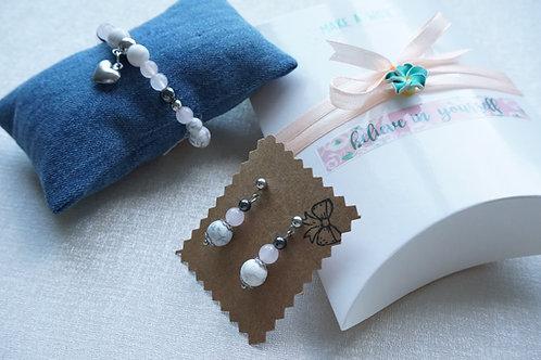 гривна и обеци розов кварц и стомана за подарък