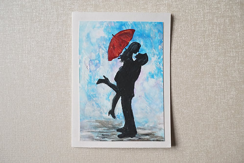 рисувана картичка двама под дъжда