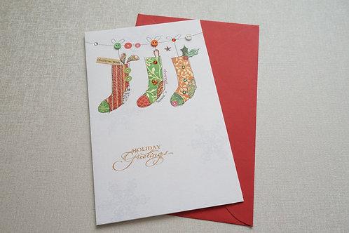 """Коледна картичка ръчно декорирана """"Чорапчета"""""""