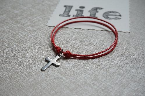 червена гривна с кръст от стомана