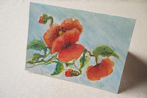 рисувана картичка с макове