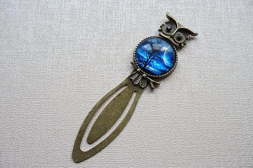 метален винтидж книгоразделител във форма на бухал нощ, гора, луна, море, океан