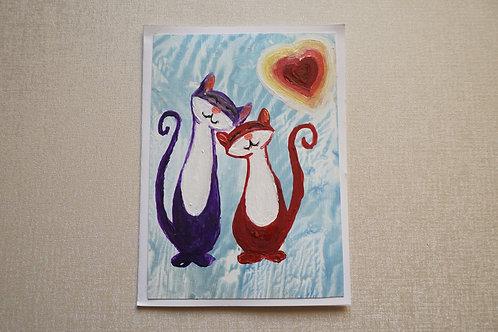 рисувана картичка влюбени котки