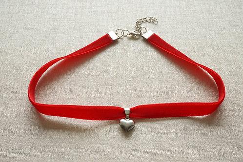 чокър червено кадифе сърце от стомана