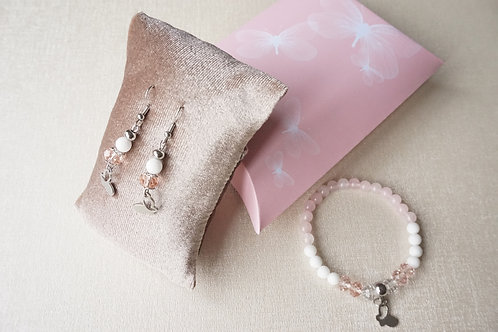 гривна и обеци розов кварц пеперуди