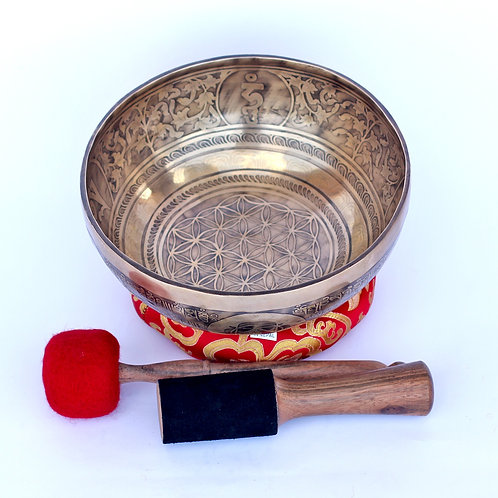9-10 Inch, hand made, flower of life carved, 7 Metal Himalaya    ns Singing Bowl