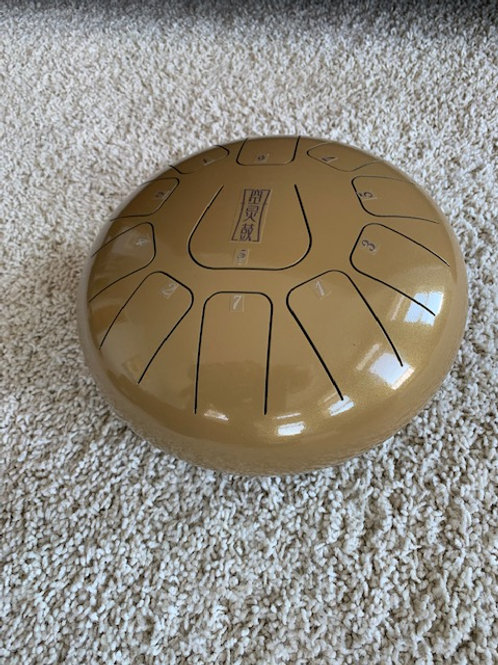 10 inch gold tongue drum with 11 tones
