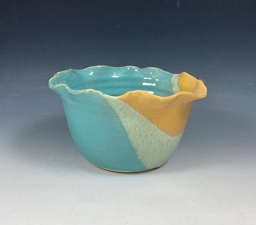 Feather Edge Bowl SM Turquoise/Yellow