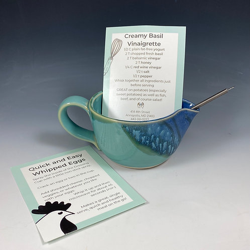 Dressing Cup w/Recipe& Whisk Turquoise/Blue