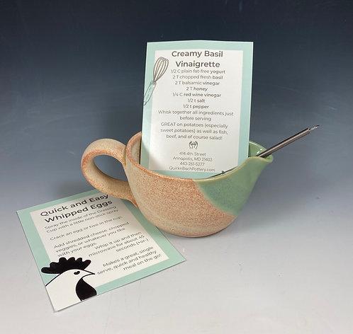 Dressing Cup w/Recipe & Whisk Jade/Orange Cream
