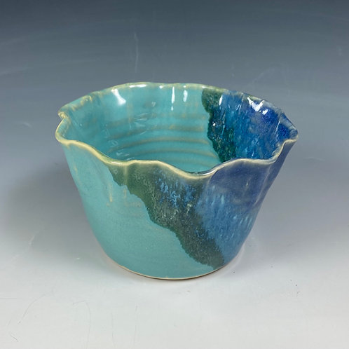 Feather Edge Bowl SM Turquoise/Blue