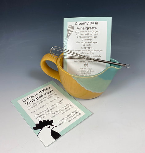 Dressing Cup w/Recipe & Whisk Turquoise/Yellow