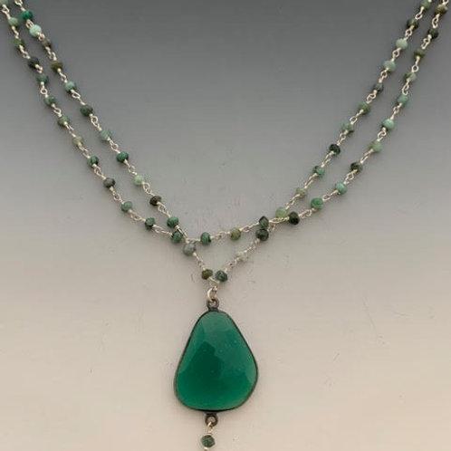 "4 Double green onyx chain w/Emerald pendant 17.5"""
