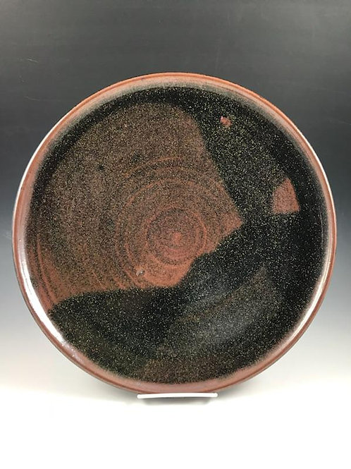 """From the QnB vault! Large Platter rust and charcoal glaze. Approx. 15"""""""