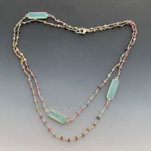 22 Tourmaline on silver with Chalcedony 35'