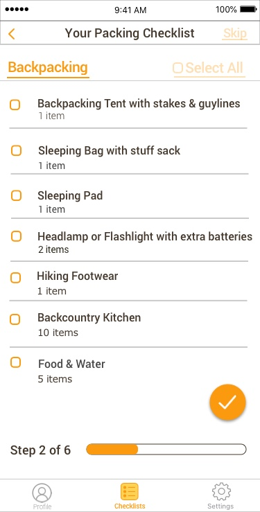 Checklist Backpacking