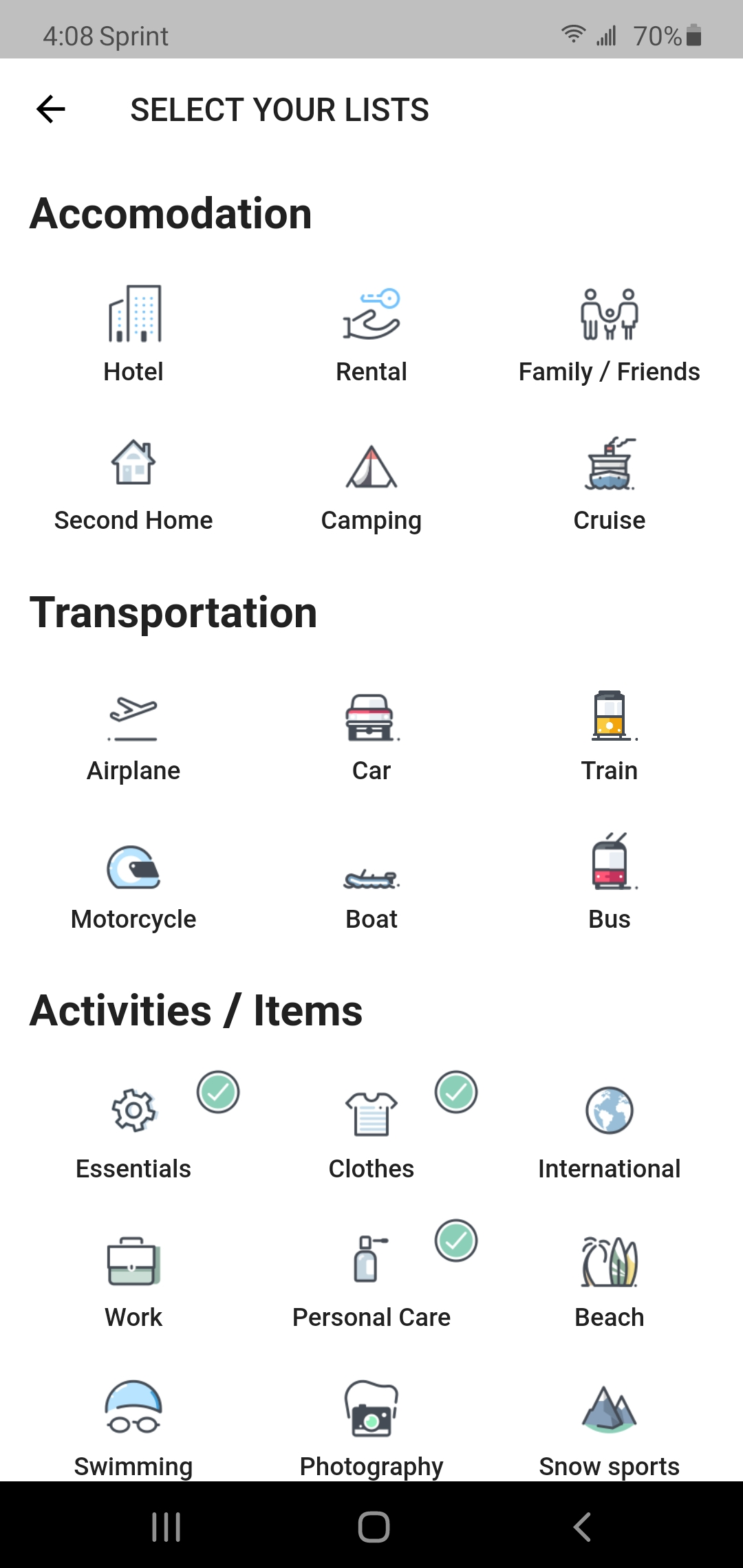 packing list add items