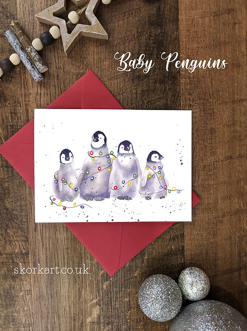 Christmas Card Baby Penguins Watercolour, A6