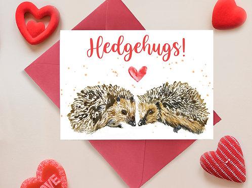 Hedgehugs, Hedgehog Valentines, Anniversary Greetings Card
