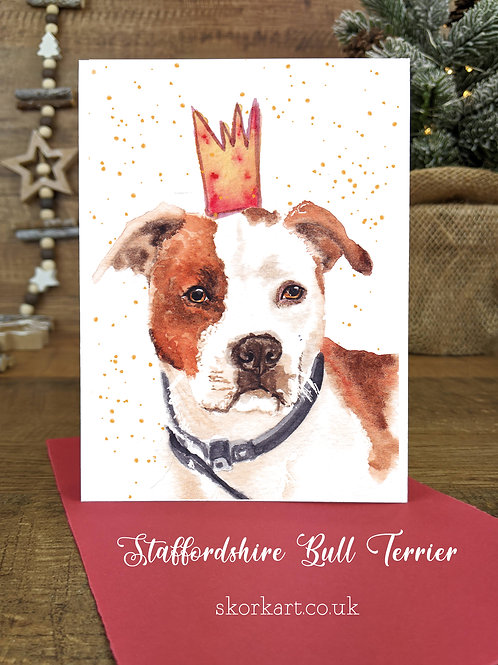 Christmas Card Staffy Red and White Watercolour, A6